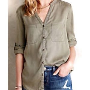 Anthropologie  Holding Horses Olive Button-down XS